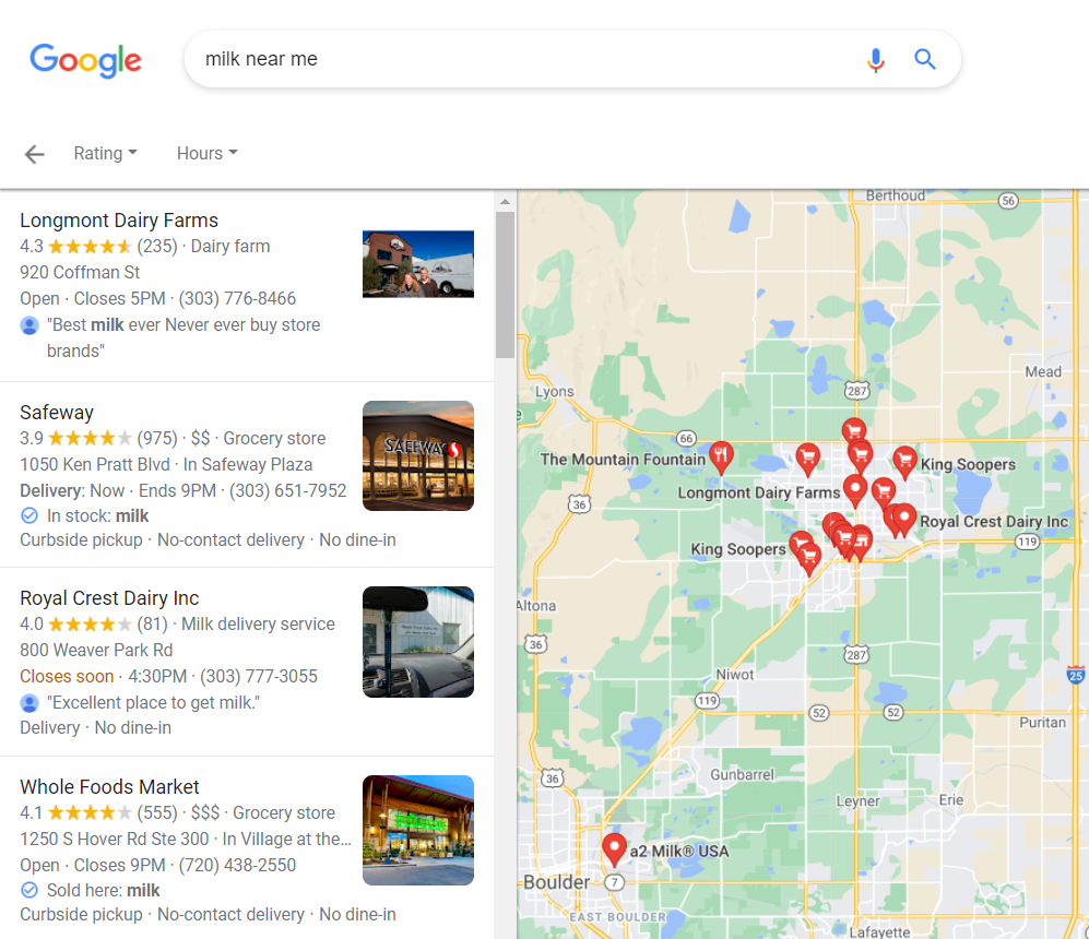 """Top 4 Local Search Results for """"Milk Near Me""""- Longmont Dairy, Safeway, Royal Crest Dairy, Whole Foods"""